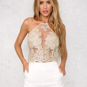 Hello Molly Pure Jealousy Gold Lace Mesh Crop Top